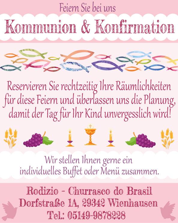 Kommunion & Konfirmation 2018 - Feiern Sie bei uns in Wienhausen/Oppershausen im Landkreis Celle