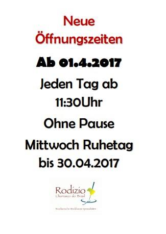 Neue Öffnungszeiten 2018 (Frühling/Sommer)