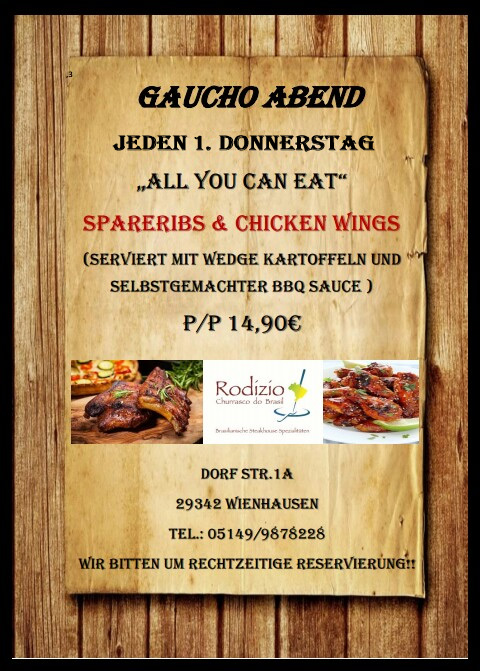 "Jeden 1. Donnerstag im Monat: ""All you can eat"" Spareribs & Chicken Wings"